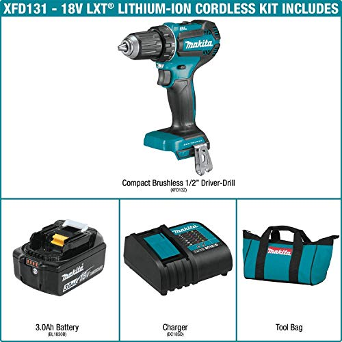 Makita XFD131 18V LXT Lithium-Ion Brushless Cordless 1/2 In. Driver-Drill Kit (3.0Ah)