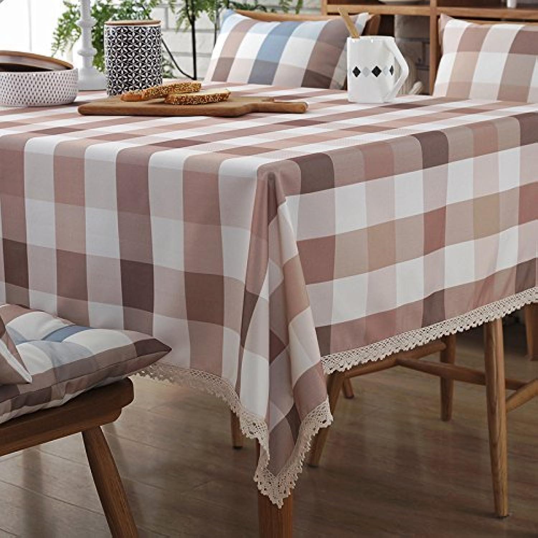 MoMo Einfaches Modernes rechteckiges Gitter-Streifen-Baumwollgewebe-Wasserdichte Tischdecke,GG,140x200cm B0796SZT6F Spielen Sie das Beste  | Kostengünstig