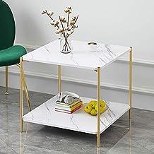 طاولة قهوة مربعة ، طاولة قهوة عصرية لغرفة المعيشة ، غرفة الطعام ، الشاي ، ديكور المنزل مع جزء علوي أبيض وإطار معدني
