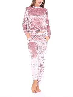 Aro Lora Women's Velour Velvet Jogger Lounge 2 Pieces Set Sportswear Tracksuit
