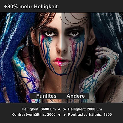 FunLites Video Projektor Full HD, Portable Mini Beamer, Native 1280x720P unterstützt 1080P, HDMI VGA AV USB kompatibel, Schwarzweiß - 2