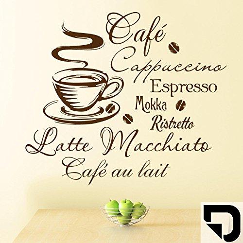 DESIGNSCAPE® Wandtattoo Kaffee, Café, Cappuccino, Espresso, Mokka, Ristretto, Lattee Macchiato, Café au lait 60 x 52 cm (Breite x Höhe) schwarz DW803033-S-F4
