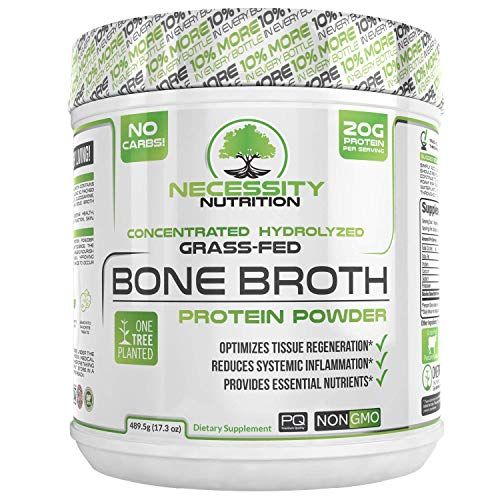 Bone Broth + Collagen Protein Powder - Natural & Pure | Paleo & Keto Friendly | Gluten Free, Low Carb & Non GMO Grass Fed Pasture Raised Bovine, Premium Gut Health