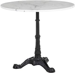 Mesa de Comedor Redonda de mármol y Metal Vintage Blanca y Negra de ø 80x71 cm - LOLAhome
