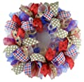 Fourth of July Independence Day Mesh Door Wreath; red white blue jute burlap