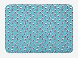 ABAKUHAUS Verano Tapete para Baño, Doodle batido de Fresa, Decorativo de Felpa Estampada con Dorso Antideslizante, 45 cm x 75 cm, Rosas Fuertes y Aqua