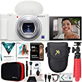 Sony ZV-1 Compact Digital Vlogging 4K Camera for Content Creators & Vloggers DCZV1/W Bundle with Deco Gear Case + Software Kit + 64GB Card + Compact Tripod/Handheld Grip and Accessories