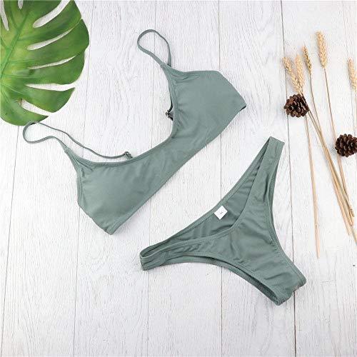 Bikini Heiße Neue Sommer Frauen Solid Bikini Set Push-Up Ungepolsterten BH Badeanzug Bademode Dreieck Badeanzug Badeanzug Biquini M Grün