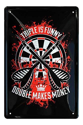 Blechschild Triple is Funny, Double Makes Money - Dart Dekoration Schild - Dekoblechschild für Dartspieler - schöne Deko für Dart Scheibe in Kneipe oder Bar - Dart Zubehör - Dart Spruch - 20x30cm