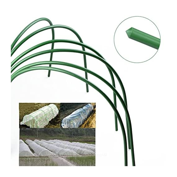 F. O. T 6pcs greenhouse hoops rust-free grow tunnel tunnel, 4ft long steel with plastic coated plant supports for garden… 2 ►material--high-qualityplasticcoatedsteelpipe,noteasytorust,canbeusedforalongtime. ►size--curvedtubelong120cm/4ft(thesizebeforebending),wide50cm/19. 7inch,high48cm/18. 9inch(thesizeafterbending),tubediameter11mm/0. 43inch. eachpackagecontains6hoops. Gardenfabricnotincluded. ►easytosetup--comescompletewithsharpenedpointsonbothsidesforeaseofplacement. washable,reusable,flatforstorage. createsafavorablemicroclimateforyourplants.
