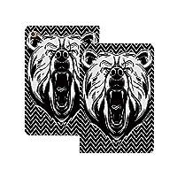 iPad Pro 11 ケース 2020 クマ、危険な表情で攻撃的な動物怖いon音哺乳類ジグザグパターン装飾、ブラックホワイト クマ [Apple Pencil 2 ワイヤレス充電対応] 軽量 き イッピー りスマートケース iPad Pro 11インチ 2020用ハード背面カバー ブラックホワイト
