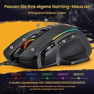 Gaming Maus, Ergonomisch RGB Maus, Holife 8000DPI & 8 programmierbar Tasten, Gamer Mouse mit komfortable Griff, PC | Laptop