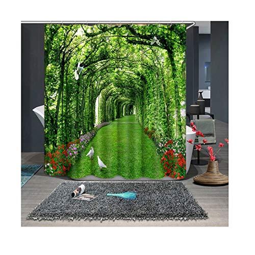 Beydodo Bad Vorhang für Badezimmer200x180 Schattigen Gehwegen mit Weiß Tauben Lustiger Duschvorhang