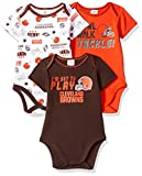 NFL Cleveland Browns 3 Pack Short Sleeve Bodysuit, Brown/Orange Cleveland Browns, 0-3 Months (137453160BNS03M-200)
