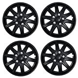 Tuningpros WC3-14-1027-B - Pack of 4 Hubcaps - 14-Inches Style Snap-On (Pop-On) Type Matte Black Wheel Covers Hub-caps