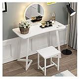 WWWFZS Juego de mesa de tocador con espejo y tocador, juego de tocador de dormitorio con taburete (color blanco puro)