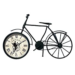 Ashton Sutton QA Vintage Bicycle Table Clock, 7-Inch by 9-Inch, Black Metal