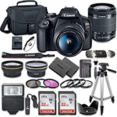 "This Camera Bundle Kit comes complete with all manufacturer supplied accessories and includes: The EOS Rebel T7 DSLR Camera from Canon has a 24.1MP APS-C CMOS Sensor and DIGIC 4+ Image Processor. It has a 3.0"" 920k-Dot LCD Monitor with Full HD 1080/3..."