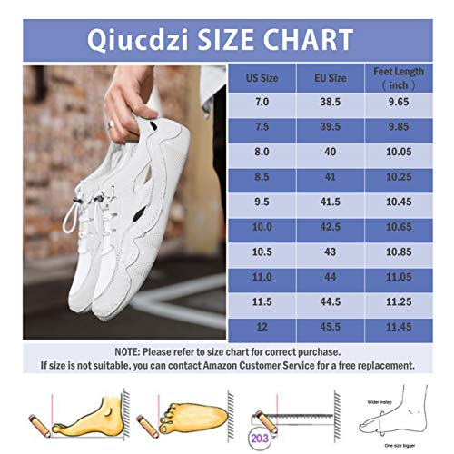 Qiucdzi Mens Sport Sandals Closed Toe Strappy Sandal Adjustable Breathable Fisherman Outdoor Walking Classic Summer Shoes White