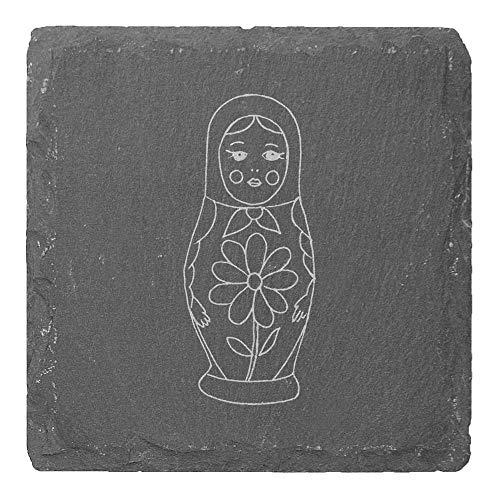 Azeeda 4 x 'Matryoshka Puppe' 10cm Quadratische Schieferuntersetzer (CR00177425)