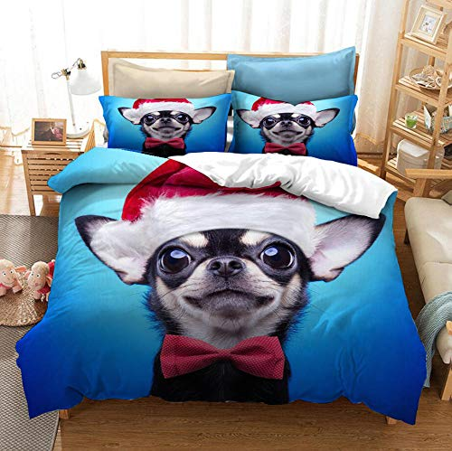 ZPYHJS Cartoon pet dog duvet cover set, 3D animal cute dog bedding set, adult and teenager single/double full size bedroom decoration home textile-A_180x210cm(3pcs)