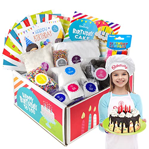 Baketivity DIY Birthday Cake Decorating Set for Girls and Boys. Box includes all Pre-Measured Ingredients, Birthday Candles, Chef Hat and Apron. Perfect for Birthday Gift for Kids, Teens, and Adults.