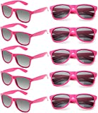 Neon Sunglasses Bulk for Adults Party Favors Retro Classic Party Glasses Shades 10 PACK (Hot Pink)