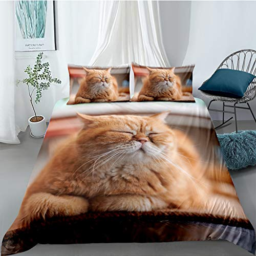 YZDM - Juego de cama estampado 3D de gato, funda de edredón con diseño de animal de compañía de microfibra, para niños y niñas, dormitorio infantil (260 x 220)