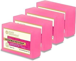 Natural Rose water Soaps by Khadi Organique,Handmade organic soap, Pack of 4 X125gms