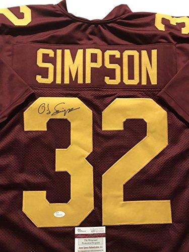Autographed/Signed OJ O.J. Simpson USC Maroon College Football Jersey JSA COA