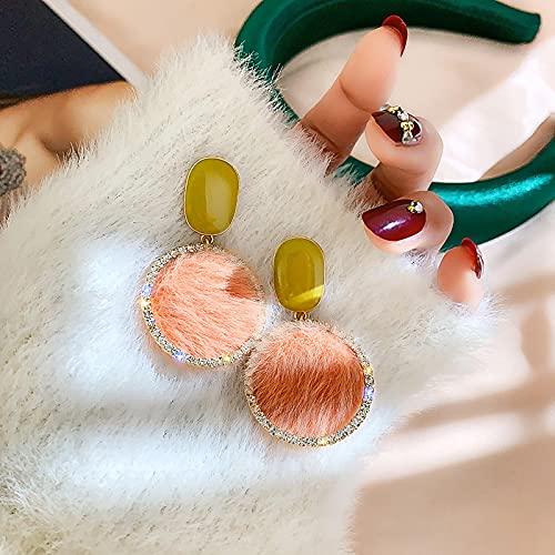 YANXIA Pendientes Colgantes Grandes para Mujer, Pendientes Largos de Fiesta Redondos Vintage de Boda, Pendientes Decorativos Elegantes de Verano, Rosa