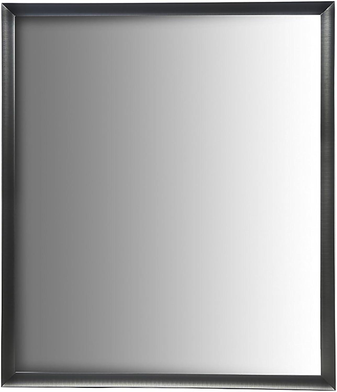 Nielsen Bainbridge 24x30 Rectangular Aluminum Wall Mirror   Vanity Mirror, Bedroom or Bathroom   Hangs Horizontal or greenical   Nickel