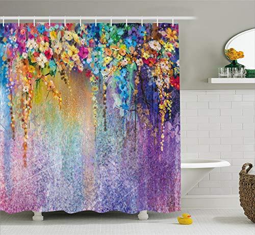 QDAS Douchegordijn, 60 x 72 inch, bloemenmotief, abstracte kruiden, geneeskunde, alternatief voor bloemen/bloemen/struiken, stof, badkamer, decoratieset met haken