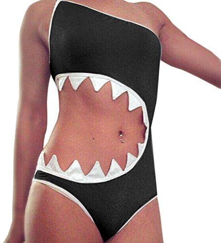 sandbank Damen Einteiler Haifisch Mund Badeanzug Bikini Beachwear Tankini, schwarz, US Small/Etikett Medium