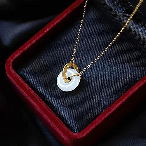 sdfpj Natural White Hetian Jade Donuts Colgante Collar 925 Plata Joyería de Moda Calcedonia Amuleto Regalos para Mujeres