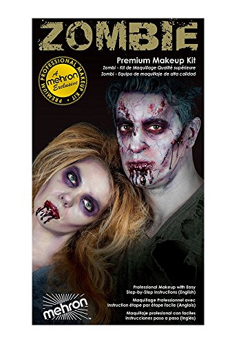 Special Effects Premium Zombie Apocalypse Makeup Kit By Mehron - Halloween SFX Make Up - Bruise Ring, Blood Gel, Flesh Liquid Latex & Color Cup, Decayed Teeth, Brush, Foam Wedge, Wipes & Instructions