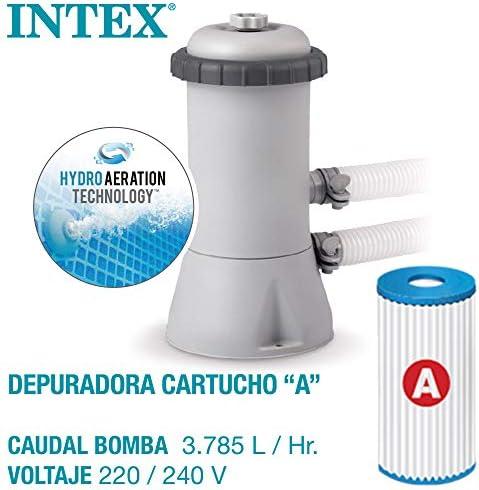 Intex 26742NP - Piscina desmontable INTEX, 457x122 cm, con depuradora cartucho, 3.785 litros/hora, filtro cartucho tipo A, piscina Greywood Prism Frame, 16.805 litros, piscina para 6 personas 3
