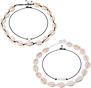 4 Pieces Cowrie Shell Choker Necklace for Women Hawaiian Seashell Pearls Choker Necklace Cord Necklace Set