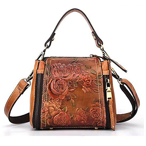 Crossbody Bag for Women Genuine Leather Top Handle Tote Purses Vintage Satchels Handbag(Brown)