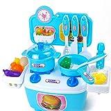 HJX888 Utensilios de Cocina para niños Juguetes,Utensilios de Cocina, Utensilios de Cocina Juego de sartenes para niños(20PCS),Azul