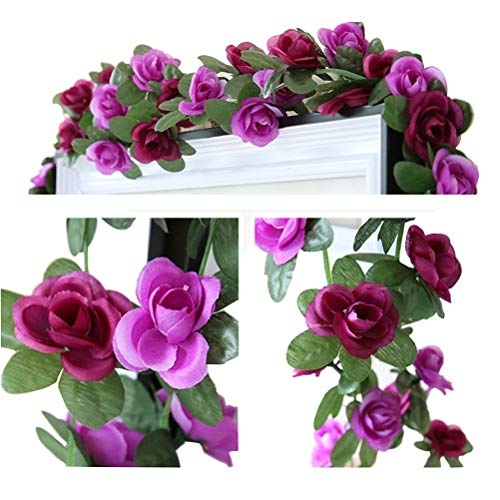 LumenTY 2 Pack 2.5 m Artificial Flower Vine Rose Garland Silk Fake Flowers Hanging Decor for Hotel Office Garden Home Party Wedding Festival Craft Art Decoration - Hot and Light Purple
