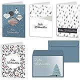 Weihnachtskarten 20er Set mit Umschlägen Urdays – Klappkarten für Weihnachtsgrüße 20 Stück – Frohe Weihnachten Retro Design