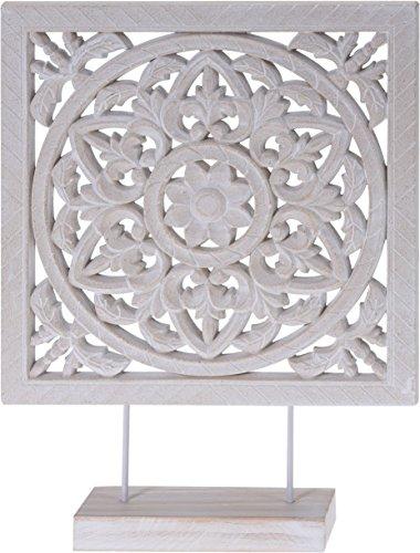 Meinposten Holzornament mit Sockel weiß 40 x 30 cm Shabby Landhaus Holzbild Ornament Holz