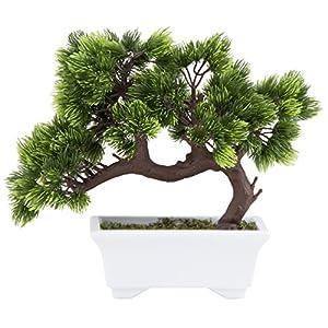 Artificial Bonsai Tree – Fake Plant Decoration, Potted Artificial House Plants, Japanese Pine Bonsai Plant, for Decoration, Desktop Display, Zen Garden Décor – 10.3 x 5 x 9.4 Inches