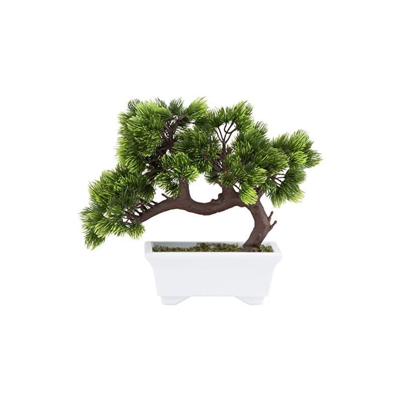 silk flower arrangements artificial bonsai tree - fake plant decoration, potted artificial house plants, japanese pine bonsai plant, for decoration, desktop display, zen garden décor - 10.3 x 5 x 9.4 inches