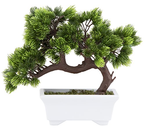 Artificial Bonsai Tree - Fake Plant Decoration, Potted Artificial House Plants, Japanese Pine Bonsai Plant, for Decoration, Desktop Display, Zen Garden Décor - 10.3 x 5 x 9.4 Inches