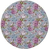 Rutschfreies Gummi-rundes Mauspad, Aquarell, Retro-Komposition mit Pfingstrosen-Narzisse und Wildblumen-Rosenknospen-Brautstrauß, mehrfarbig, 7.9'x7.9'x3MM