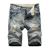 FRAUIT Pantaloncini Uomo Jeans Strappati Taglie Forti Pantaloncini Ragazzo Denim Tasconi Casual Plus Size Oversize Bermuda Cargo Uomini Lavoro Pantaloni Slim Fit Elasticizzati Shorts (L, Grigio)