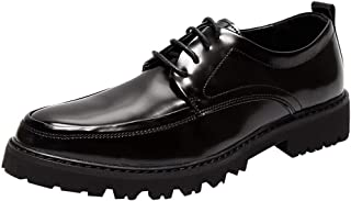 Bin Zhang Business Formal Oxfords for Men Dress Shoes Lace up Patent Leather Pointed Toe Pull Tab Anti-Slip Wear-Resistant Lug Sole Low Heel (Color : Black, Size : 7 UK)