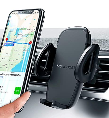 Soporte universal para coche con ventilación de aire, versión actualizada por Mongoora, para cualquier smartphone, soporte para teléfono celular de coche, soporte de ventilación para coche, soporte de ventilación de coche, soporte para ventilación de aire, para mujeres y hombres.